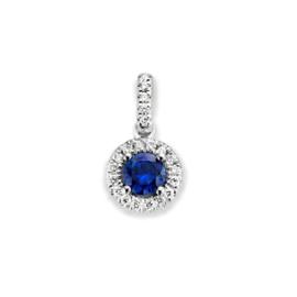 Excellent Jewelry Ronde Witgouden Hanger met Saffier en Briljanten