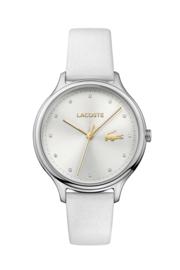 Lacoste Zilverkleurig Dames Horloge met Wit Lederen Horlogeband
