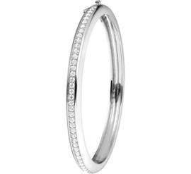 Zilveren Bangle armband met Zirkonia's en Scharniersluiting