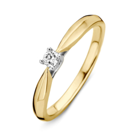 Excellent Jewelry Bicolor Ring met Vernauwing en 0,09 crt. Briljant