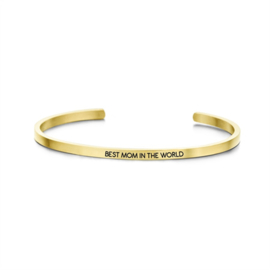 Goudkleurige 'Best mom in the world' Bangle Armband van Edelstaal