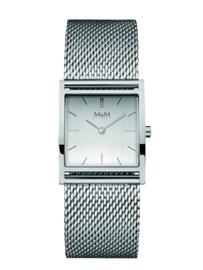 Zilverkleurig Basic Square Dames Horloge met Milanese Band van M&M