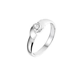 Zilveren Ring voor Kinderen met Witte Strass Steen