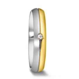 Bolle 9 karaats met Zilveren Dames Trouwring met Diamant