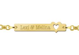 Lexi & Melina Bar Naamarmband van Goud met Opengewerkt Hartje > Names4ever