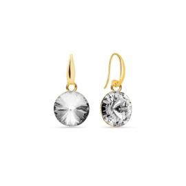 Spark Candy goudkleurige oorhangers met Witte Glaskristal