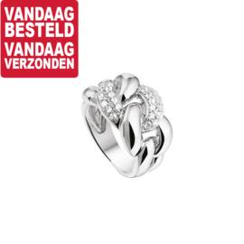 Intrigerende Zirkonia Schakel Ring van Gerhodineerd Zilver / Maat 17,8