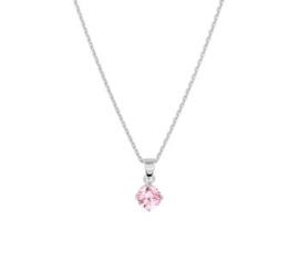 Zilveren Collier met Roze Zirkonia