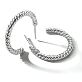 Zilveren Stekeroorringen van 3 mm / 26 mm