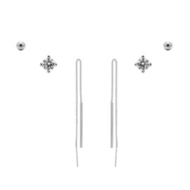 Karma Jewelry – Zesdelige Pretty Pull Earparty Set - Zilver