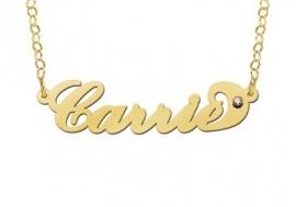 Names4ever Carrie Stijl Gouden Naamketting + Zirkonia
