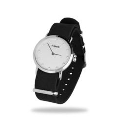 Sencillo Zilverkleurig Horloge met Zwarte Horlogeband van Spark