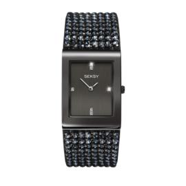 Sekonda Rechthoekig Zwart SEKSY Dames Horloge met Brede Band