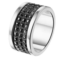 Graveer Heren Ring van Zilver met Geoxideerd Zilveren Middenstrook