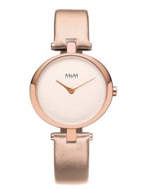 M&M Horloge met Roségoudkleurige Lederen Horlogeband voor Dames