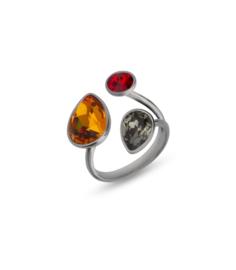 Swarovski Ring van Spark Jewelry met Oranje en Grijze Swarovski Kristallen