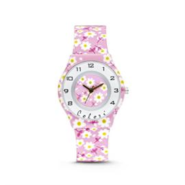 Fleurig Roze Kids Horloge met Bloemen van Colori Junior