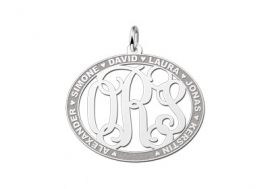Names4ever Medium Ovale Hanger Monogram met Namen ZMH020