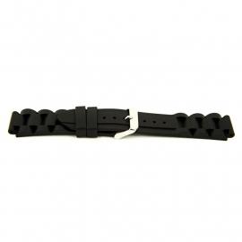 Horlogeband XI12 Silicon 842 Zwart 24mm