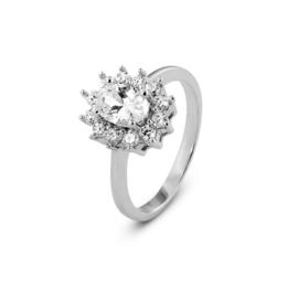 New Bling Zilveren Zon Ring met Zirkonia's