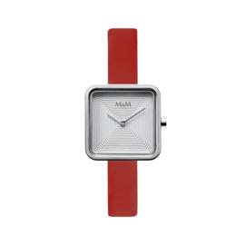 M&M Horloge met Vierkante Kast en Rood Lederen Horlogeband