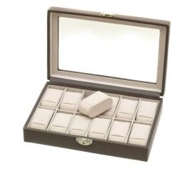DAVIDTS horlogebox voor 12 horloges / Donkergrijs