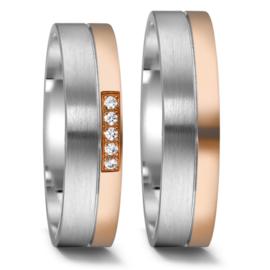 Vlakke Trouwringen Set van Zilver met Roségoud en Meerdere Diamanten
