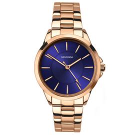 Roségoudkleurig Dames Sekonda Horloge met Blauwe Wijzerplaat