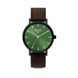 Zwart Horloge van Frank 1967 met Groene Wijzerplaat en Donkerbruine Horlogeband