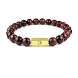 Gold Premium   Rode Tijgeroog Kralen Armband van Blaauw Bloed