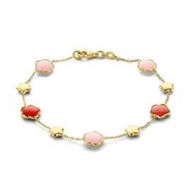 Excellent Jewelry Geelgouden Armband met Rode en Roze Edelsteen