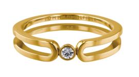 Slanke Edelstalen Ring met Zirkonia