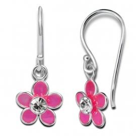 Zilveren roze bloem oorhangers