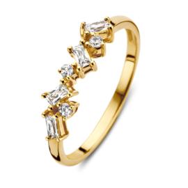 Excellent Jewelry Gouden Zirkonia Ring met Kopstuk