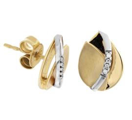 Oorknoppen met Gebogen Witgouden Diamant 0.030 ct Strook
