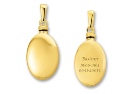 Gouden Ovaalvormige Ashanger met Tekst - Names4ever