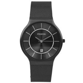 Zwart Heren Horloge met Milanese Horlogeband en Zwarte Wijzerplaat