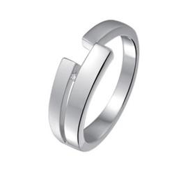 Vlakke Gepolijst met Matte Zilveren Ring en Diamant 17,8mm