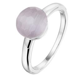 Gerhodineerd Zilveren Ring met Grijze Cat's Eye Edelsteen