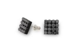 Mesh Oorknopjes van Zilver met Zwarte Swarovski Kristallen