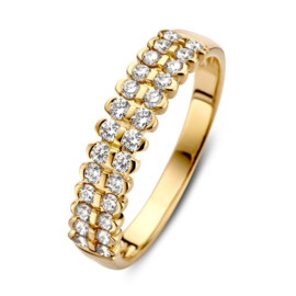 Excellent Jewelry Gouden Ring met Dubbele Diamant Rij