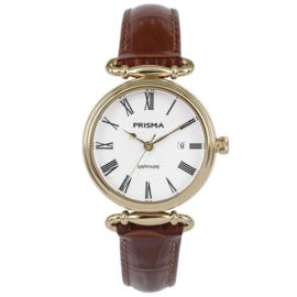 Goudkleurig Luxueus Dames Horloge van Prisma met Bruin Lederen Band