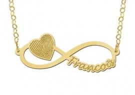 Names4ever Gouden Infinity Hanger met Hart en Vingerafdruk