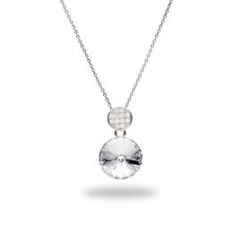Candito Zilveren Ketting met Zirkonia's en Wit Glaskristal