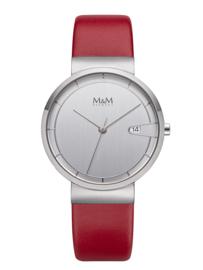 Zilverkleurig M&M Unisex Horloge met Rood Lederen Horlogeband