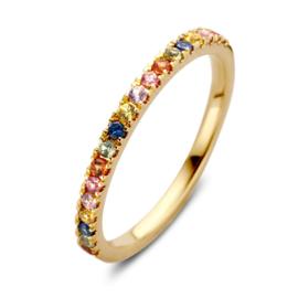 Excellent Jewelry Gouden Ring met Regenboog Saffier Edelstenen