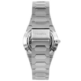 Prisma Licht Zilverkleurig Heren Horloge met Zwarte Wijzerplaat