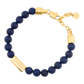 Blaauw Bloed Royal Lapis Lazuli Armband met Goudkleurige Bedel