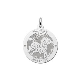 Ronde Chinese Sterrenbeeld Paard Hanger van Zilver