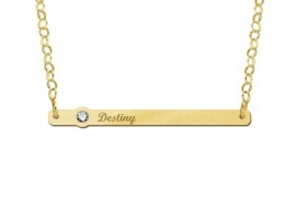 Gouden Bar Naamketting met Zirkonia Names4ever GNKB007